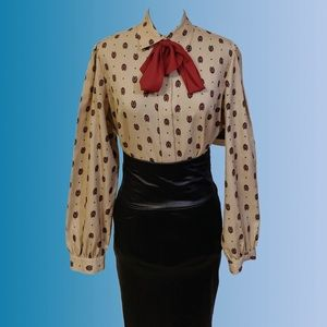 Vintage 80s Pussybow Blouse
